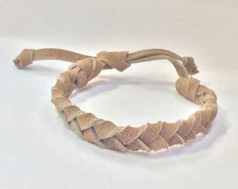 Handmade, adjustable braided suede leather bracelet