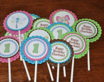 Bug Cupcake Toppers. Insect Cupcake Toppers. Personalized.  Cupcake Picks. Set of 12. Choose boy or girl