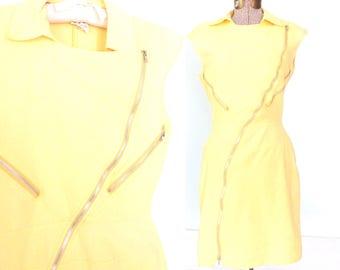 vintage 80s dress * moto zipper dress * 1980s mini dress * pale yellow dress * sheath dress * small