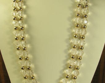 Vintage Costume necklace, two strand goldtone and beaded