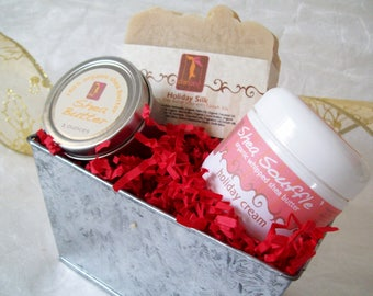 Holiday Silk soap Gift Basket Tin with organic soap, Organic whipped body butter and pure shea butter tin