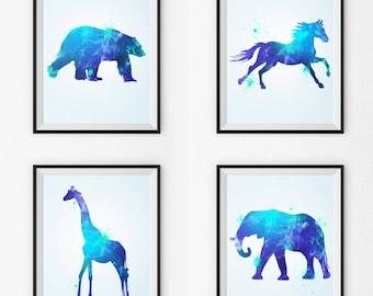 Watercolor Nursery Art Set Of 4- Watercolor Nursery Art - Wall Art - Animals - Watercolor Canvas - Watercolor Print - Watercolor Paintings