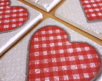 Tile Coasters - Large Red Heart