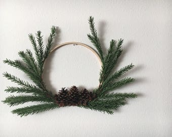 "Minimalist 12"" Modern Hoop Wreath- Wedding Decor- The Shasta"