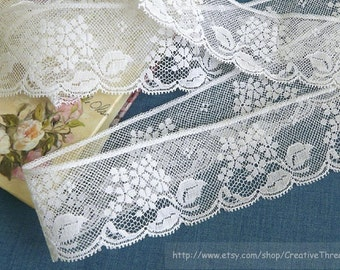 "Wide French Cotton Lace for Heirloom Sewing - Wide Lace Edging - Delicate Cotton Lace - Bridal Lace - WHITE - No. 204 - 1 1/2"" wide - 1 yard"
