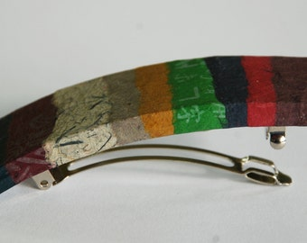 Patchwork Hanji French Barrette Hair Pin Striped Patchwork Sturdy Stainless Steel Barrette Handmade