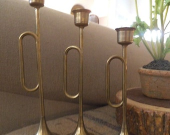 3 Vintage Brass Horn Candle Holder ~ Mid Century Modern Taper Holders ~ Lord and Taylor