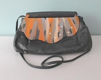 Vintage Purse, Moon Bag, Shoulder Bag, Black Clutch, Crossbody, Flap Bag, Patricia Smith, 80's Purse, Leather, Collectible
