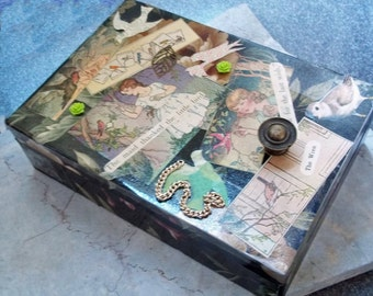 Collage Cardboard Trinket Box with Bird Theme
