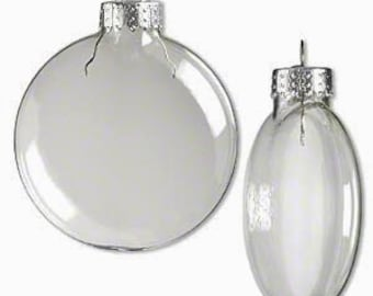 Christmas Ornaments - FOUR Clear Glass DISC Ornaments 3 Inches - Christmas Tree Ornaments - Glass Balls