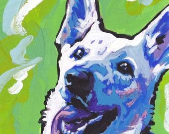 white German Shepherd modern Dog art print pop dog art bright colors 8x8