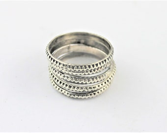 3 or 5 set of silver textured stacking rings