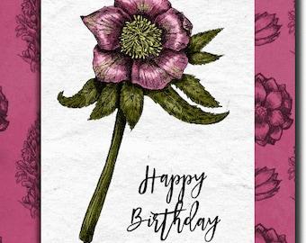 Happy Birthday hand made birthday card - 12.5cm x 17.5cm (5'' x 7'') with envelope.