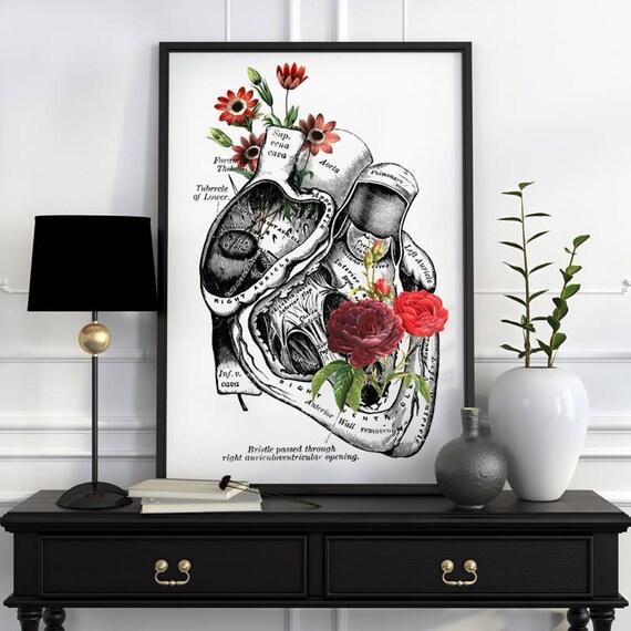 Flowery Heart Human Anatomy Art - Anatomical art prints, wall art poster , prints, digital , wall art, SKA080WA3