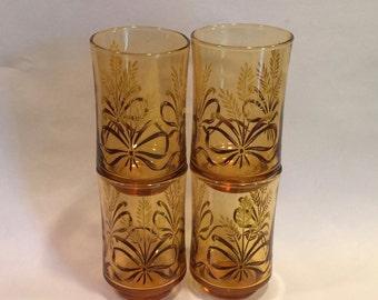 Set of Four Vintage Libbey Glass Ombre Golden Wheat Juice Glasses