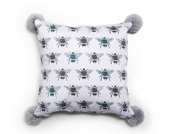 Bumble Bee Cushion with Pompoms // Pattern Pillow // Cushion Cover // Pom Pom Cushion // Bee Fabric