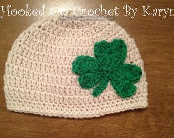 Irish St. Patrick's Day Crochet Hat Shamrock