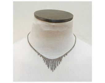 Vintage 1960s Silver & Crystal Rhinestone Bib Necklace