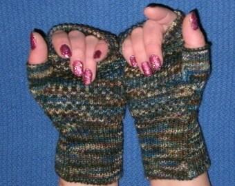Fingerless Gloves made from merino, nylon, and stellina sparkle