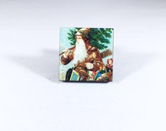 Santa Pin, Father Christmas, Santa Claus Pin, Santa Brooch, Vintage Christmas, Christmas Gift, Gift for Her