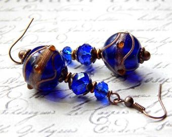 Cobalt Blue Lampwork Glass Earrings - Antique Copper Glass Earrings - Dangle Earrings