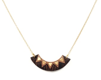 Gold collar necklace, Tribal necklace, Bar necklace Gold chain necklace, Bar pendant necklace Boho jewelry Wooden necklace, Chevron necklace