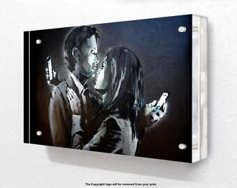 Banksy - Lovers Mobile- Acrylic Block Photo Frame
