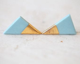 Mira, porcelain and gold earrings, glazed .Porcelain jewelry