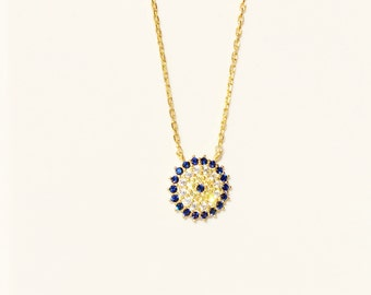 Evil Eye Necklace, Gold With Cubic Zirconia • A Beautiful Eye Jewelry For Protection • Eye Jewelry and Eye Gifts Are Hot Trending Right Now