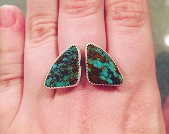 American turquoise adjustable open face ring