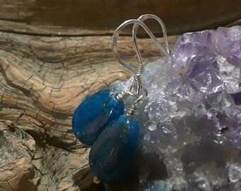 Blue Apatite Dangle Earrings on Sterling Silver Hooks