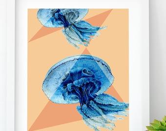 Modern Jellyfish PRINTABLE, Sea Life Wall Art, Jellyfish Art, Beach House Art, Printable Jellyfish, Digital Download, Beach Cottage Decor