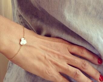 Dainty Heart Bracelet, Gold Bracelet, Flower Girl Bracelet, Layered Bracelet, Friendship Bracelet, Anniversary Gift