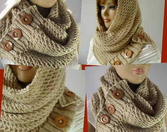 KNITTING PATTERN SCARF Hood Cowl - LouLou Scarf Hooded Cowl Pattern Bulky Scarf Cowl with wooden Buttons women scarf knit instant download