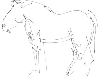 gestural horse 8X10 abstract art print of gesture line drawing