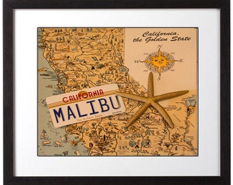 Beach Decor, California Map, Malibu License Plate Photo, California Photography, Golden State, SoCal Art Photo