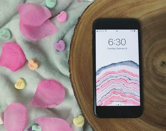 Baby Pink Geode Wallpaper for iPhone