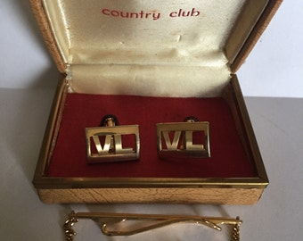 Vintage Country Club Cuff Links and Tie Clip