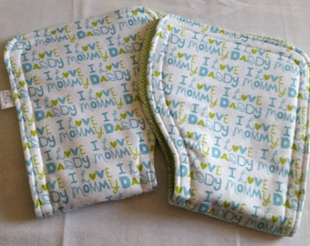 Set of 2 Burp Cloths-I Love Mommy and Daddy