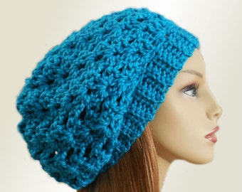 SLOUCHY Hat Beanie Crochet Hat Knit Wool True Peacock Blue Green Slouchie Beany Slouch Hat Women Hats Blue/Green Spring Slouchy Gift for Her