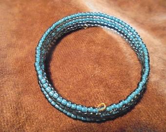 Denim blue Czech beaded memory wire bracelet