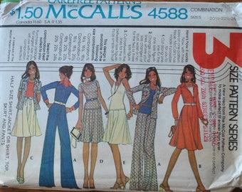 "Vintage 1970s McCalls 4588 Sewing Pattern, Dress Skirt T Shirt, Wide Legged Pants Jacket Size 20 22 24 Bust 37"" 40"" 42"" UNCUT Half Size Patt"