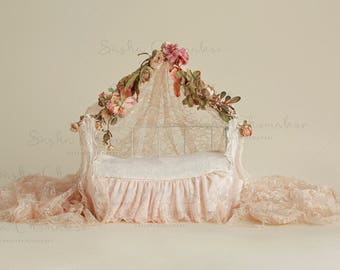 digital backdrop  background newborn baby girl peach lace pink bed
