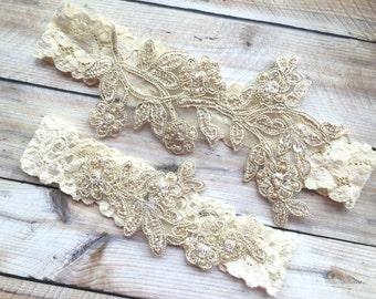 Lace Wedding Garter, Lace Bridal Garter, Wedding Garter Set, Lace Garter Set, Bridal Garter Set, Ivory wedding garter, Gold Wedding Garter