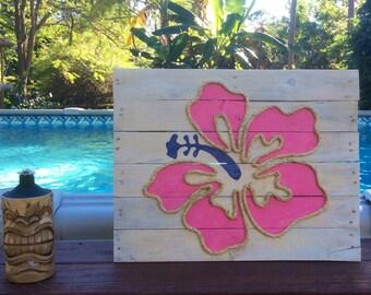 Handmade Hibiscus with Rope Beach Pallet Art Coastal Decor Rope Art Pallet Art