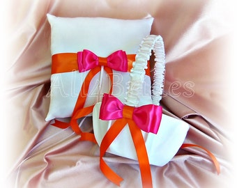 Orange Hot Pink Wedding Pillow Basket - Ring Bearer Pillow - Flower Girl Basket - Weddings Ceremony Decor