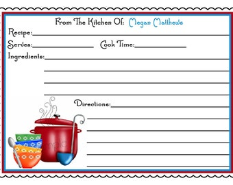 Personalized Recipe Cards, Soups On, Kitchen, Cooking, Baking, Set of 12 Recipe cards