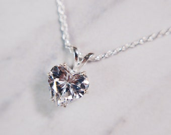 2 Carat Heart Cut Pendant Diamond Simulant Pendant 925 Sterling Silver Necklace - Handmade CZ