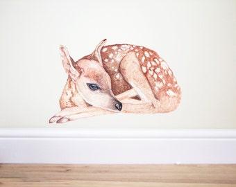 Deer wall decal, woodland Nursery,deer wall sticker,fawn wall decal,deer sticker,forest nursery, deer decor,nature wall decal,animal decal