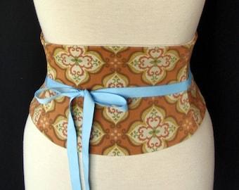 Corset Belt / Autumn Colors Waist Cincher / Adjustable Costume Corset / Steampunk Belt / Plus Size Available / Rustic Wedding / Renaissance